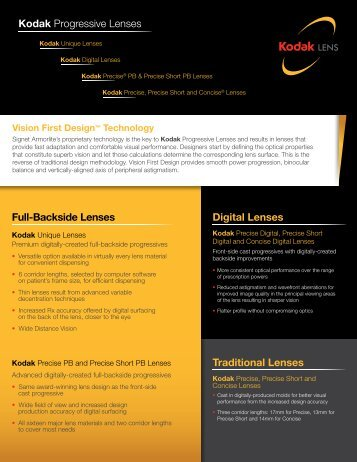 Full-Backside Lenses Digital Lenses Traditional Lenses Kodak ...