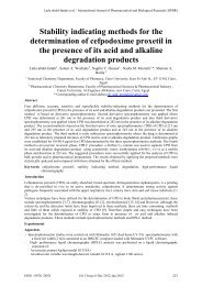 Stability indicating methods for the determination of cefpodoxime ...