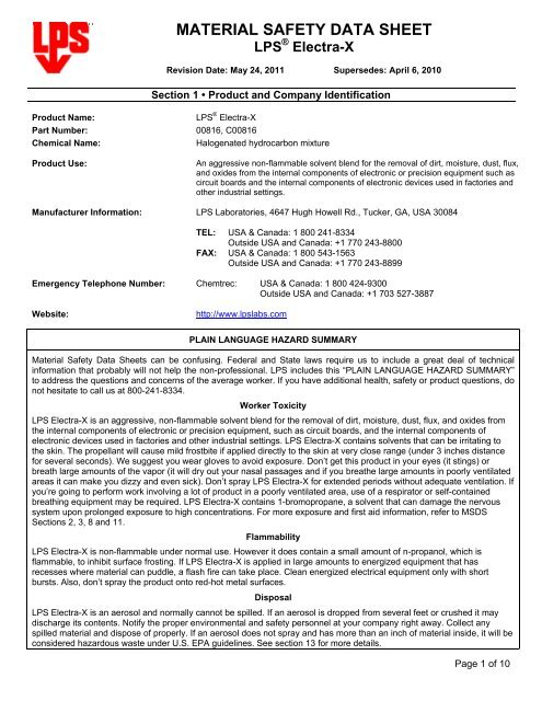 MATERIAL SAFETY DATA SHEET - LPS Laboratories