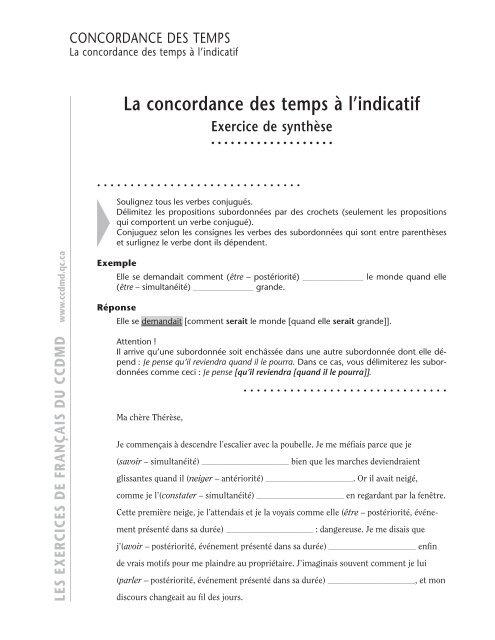 La concordance des temps à l'indicatif - ccdmd