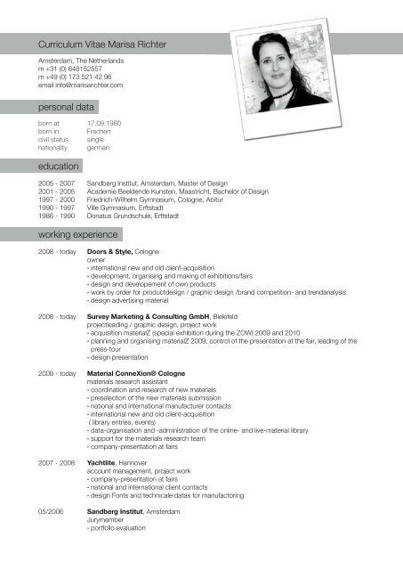 Curriculum Vitae Marisa Richter Personal Data Education Working