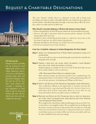 Bequest & Charitable Designations - Giving to Penn State
