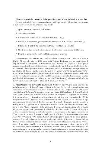 Descrizione ricerca - Andrea Loi - Homepage