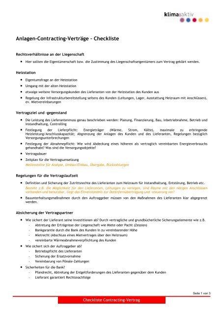 Checkliste Anlagen Contracting Vertrag