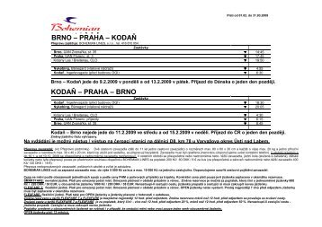 Jízdní řád a ceny Brno-Praha-Kodaň  platný 1.2 ... - Bohemian Lines