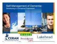 Self-Management of Dementia: - Seniors Health Knowledge Network