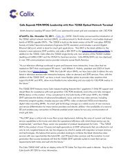 Calix Expands PON/RFOG Leadership with New 725GE Optical ...