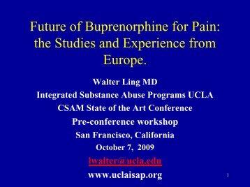 Future Of Buprenorphine For Pain
