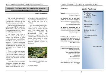 Carta Informativa 27 - Septiembre 2011 - Universidad Nacional de ...