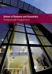 School of Business and Economics Postgraduate ... - Study in the UK