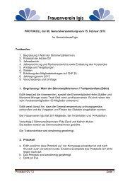 Protokoll der GV 2013 - Frauenverein Igis