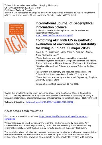Combining AHP with GIS in synthetic evaluation of environmental ...