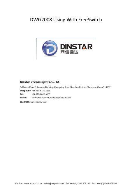 Dinstar DWG2008 FreeSwitch Guide (PDF)
