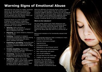 Warning signs of emotional abuse (pdf) - South Africa