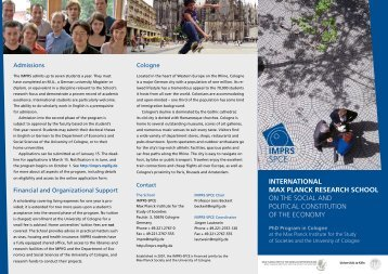 InternatIonal Max Planck research school on the Social and Political ...