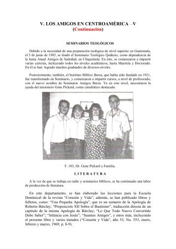 V. LOS AMIGOS EN CENTROAMÉRICA —V ... - Instituto ALMA