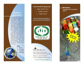 Download Workshop brochure in pdf format - Green Kids Now, Inc
