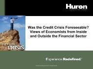 Was the Credit Crisis Foreseeable? - Huron Consulting Group