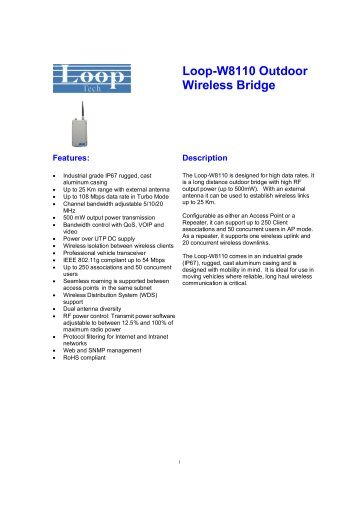 Loop-W8110 Outdoor Wireless Bridge - DAVANTEL