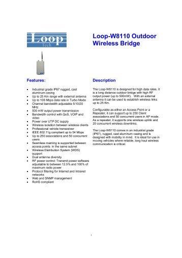 Loop-W8110 Outdoor Wireless Bridge - DAVANTEL