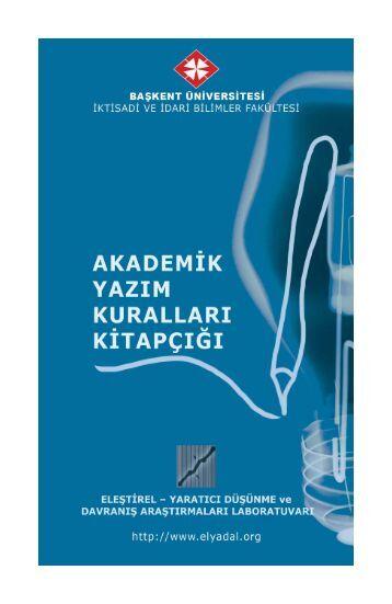 Akademik Yazım Kuralları Kitapçığı - İktisadi ve İdari Bilimler Fakültesi