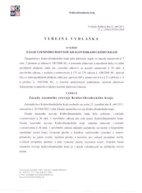 Veřejná vyhláška o vydání zásad územního rozvoje