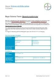 Bayer Science Teens: Bewerbungsformular - BNC - Bayer