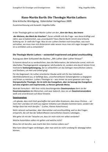 Hans-Martin Barth: Die Theologie Martin Luthers - Stadtkirche