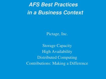 AFS Best Practices in a Business Context - AFS & Kerberos Best ...