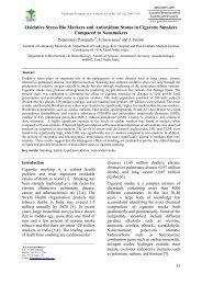 Oxidative Stress Bio Markers and Antioxidant Status in Cigarette ...