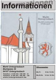 Informationen - Markt Untergriesbach