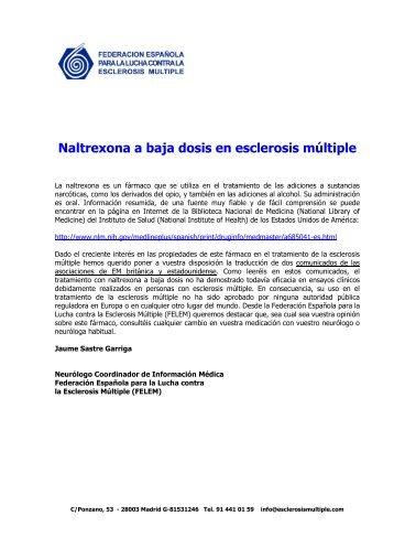Naltrexona a baja dosis en esclerosis múltiple - Felem