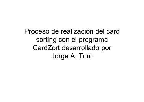 Proceso de realización del card sorting con el programa ... - GRIHO