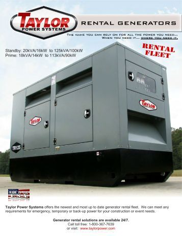 Rental Fleet RENTAL GENERATORS