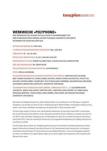 WERKWOCHE »POLYPHONIE« - PACT Zollverein