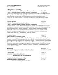 angela noble jaromin - Johnson Graduate School of Management ...