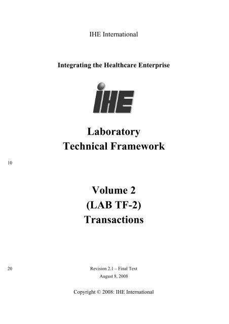 Laboratory Technical Framework Volume 2: Transactions - IHE