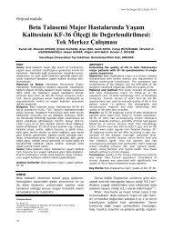 Beta Talasemi Major Hastalarında Yaşam ... - Yeni Tıp Dergisi