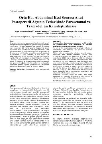 Orta Hat Abdominal Kesi SonrasÕ Akut ... - Yeni Tıp Dergisi
