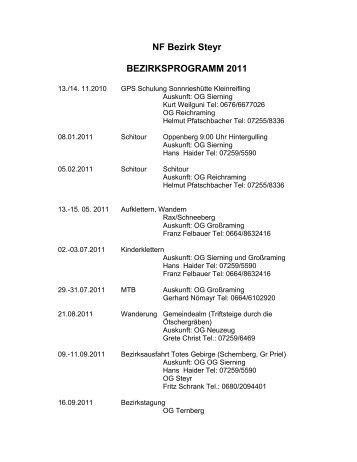 NF Bezirk Steyr BEZIRKSPROGRAMM 2011