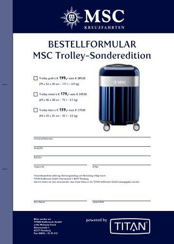 BESTELLFORMULAR MSC Trolley-Sonderedition - MSC Kreuzfahrten