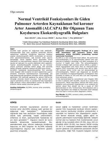 (ALCAPA) Bir Olgunun Tanı - Yeni Tıp Dergisi