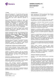 SONERA KAAPELI-TV ERITYISEHDOT