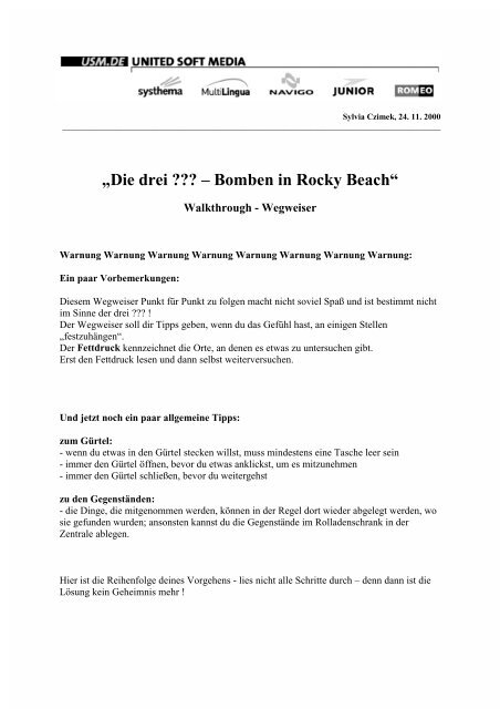 """""""Die drei ??? – Bomben in Rocky Beach"""" - Adventurearchiv"""