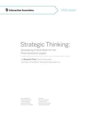 Strategic Thinking: Developing Critical Skills for the Pharmaceutical
