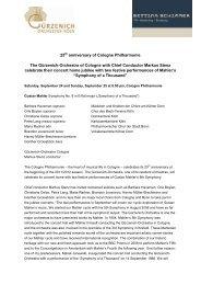25 anniversary of Cologne Philharmonie The ... - Markus Stenz