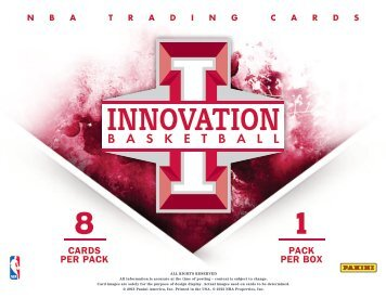 2012-2013 Panini Innovation Basketball Product Information Sheet