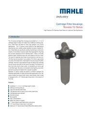 Data sheet 1U series - MAHLE Industry - Filtration