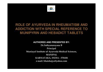 ROLE OF AYURVEDA IN RHEUMATISM AND ADDICTION WITH ...