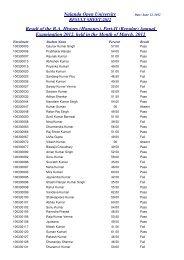 Nalanda Open University Result of the B.A. History (Honours), Part-II ...